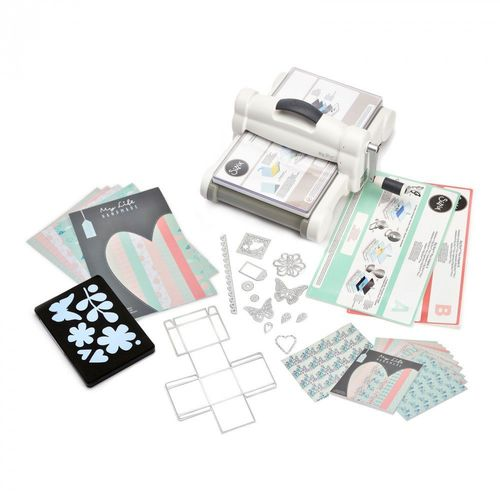 MACCHINA Sizzix Big Shot PLUS NUOVO Starter Kit con STOFFA  (White & Gray)