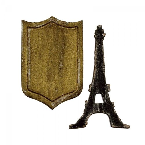 Movers & Shapers Magnetic Die Set 2PK-Mini Eiffel Tower & Shield by Tim