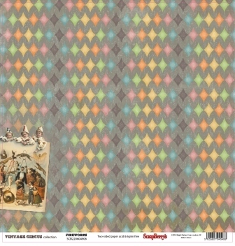 "DOUBLE-Sided Paper 12""*12"" VINTAGECIRCUS,CIRCUS FIREWORS 180gr"