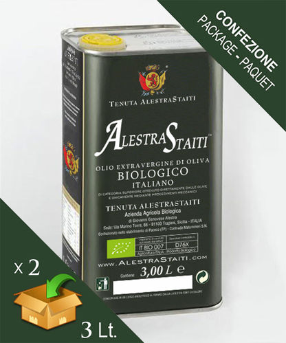 """AlestraStaiti"" BIO - Organic ExtraVirgin Olive Oil - Box 2 cans by 3 litres"