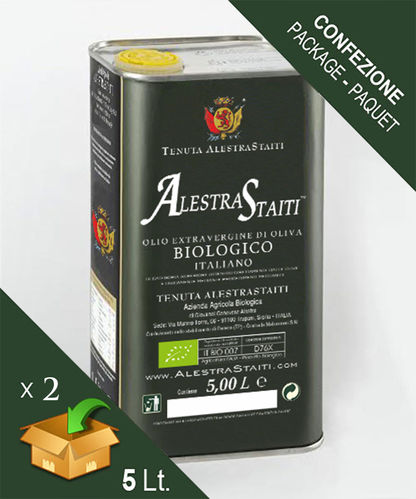 """AlestraStaiti"" BIO - Organic ExtraVirgin Olive Oil - Box 2 cans by 5 litres"