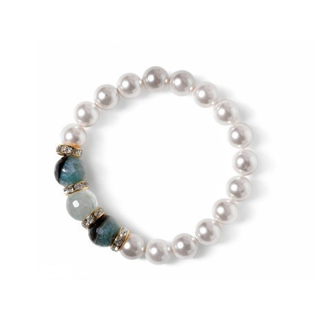 BRACELET 3750 ELASTIC - PEARLS OF MOTHER OF PEARL AND NATURAL AGATE