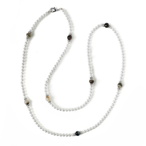 NECKLACE 3755 LONG - PEARLS OF MOTHER OF PEARL AND NATURAL AGATE