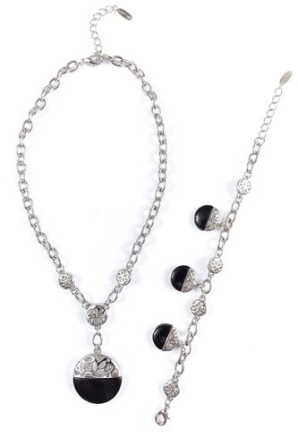 SET OF NECKLACE AND BRACELET 607 794 RHODIUM