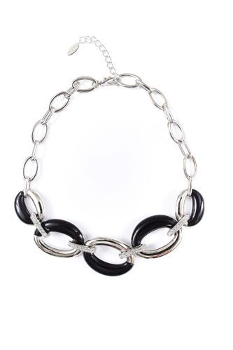 NECKLACE 606 596 RHODIUM - BLACK