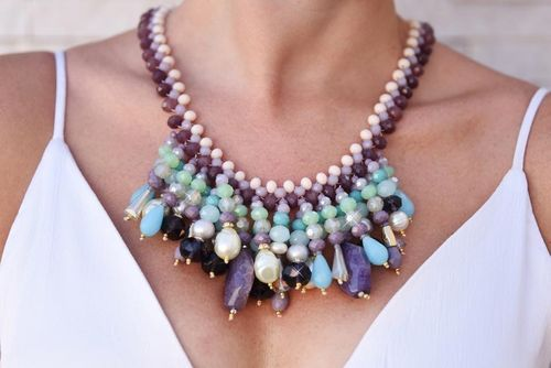 NECKLACE 2166 TURQUOISE AND PURPLE