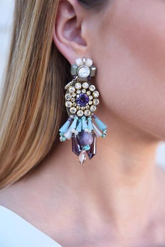 EARRING 1694 TURQUOISE AND PURPLE