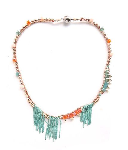 NECKLACE 3023 TURQUOISE AND ORANGE