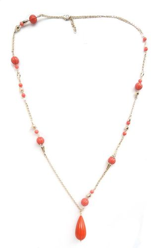 NECKLACE 1419 CORAL RED