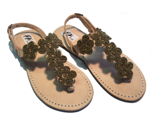 SANDALS ORIGINAL KENYA MODEL FLOWER GOLD