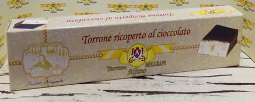 Torrone classico alle Mandorle ricoperto di CIOCCOLATO /  Nougat covered with chocolate