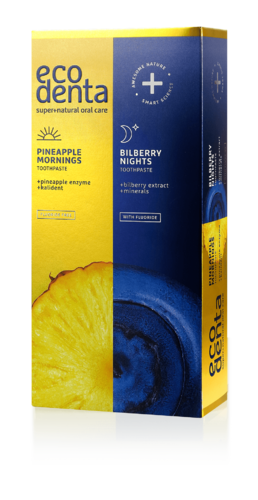 Ecodenta - Pinapple Mornings & Bilberry Nights toothpastes (Dentifrici Giorno&Notte)