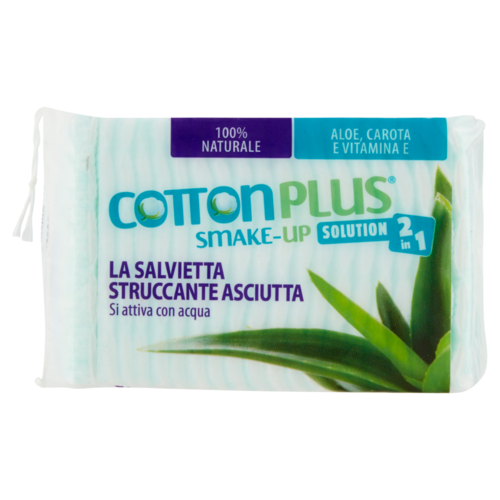 Cotton Plus - SMAKE-UP Salvietta Struccante Asciutta Maxi 40 pz Aloe