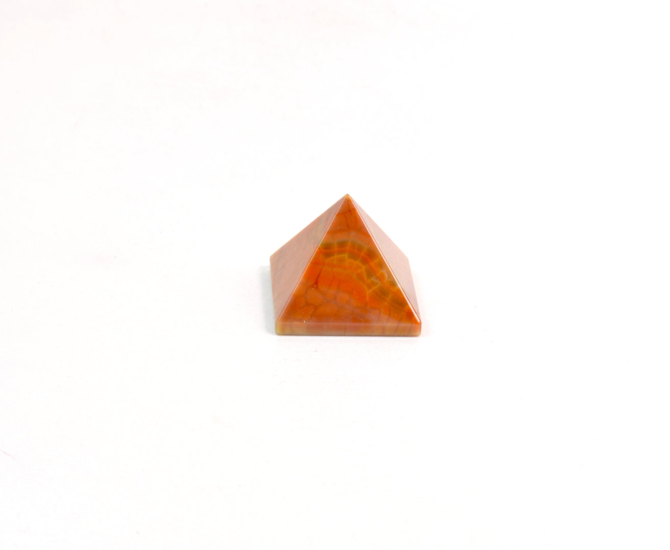Piramide in Agata di Fuoco (base: 3x3 cm circa).Soprammobile,Idea Regalo