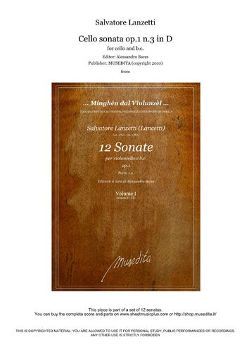 S-Lanzetti - Cello sonata op.1 n.3 in D